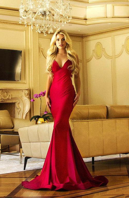 Jessica Angel Deep V-Neck Gown with Criss Cross Back. Robe de soirée