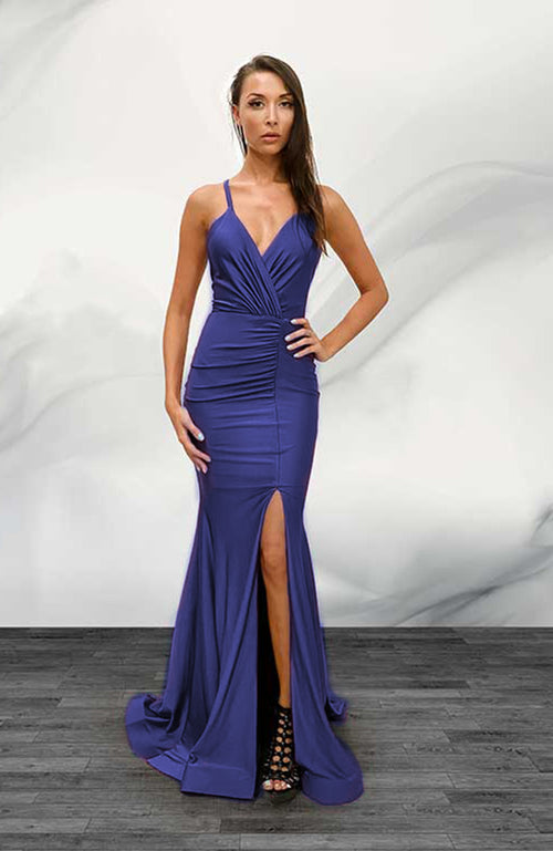 Robe de Bal Jessica Angel Gown with Mid Rushing and Slit Clasic Blue