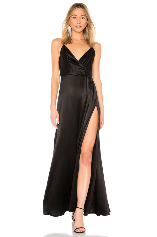 Jill Jill Stuart Black Dress Gown Side Slit