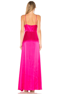 JILL JILL STUART Satin V-Neck Side Slit Gown Robe de soirée