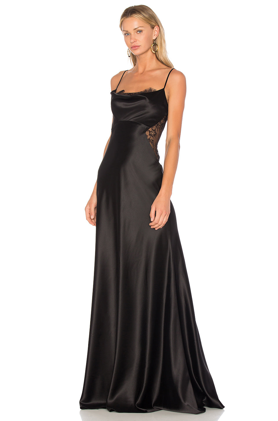 JILL JILL STUART Satiny Lace Cutout Gown Black. Robe longue en satin noire