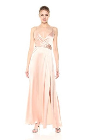 JILL JILL STUART Thandie Satin V-Neck Side Slit Pink Gown Robe de soirée