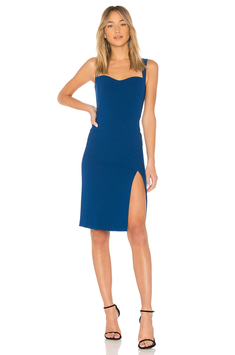 Jill Jill Stuart Sleeveless Blue Dress slide slit Robe avec fente laterale