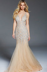 JOVANI Deep V Sequin Gown with Chiffon Skirt
