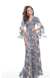 JOVANI LONG CAPE SLEEVE  V-NECK LACE GOWN W/SHIMMER