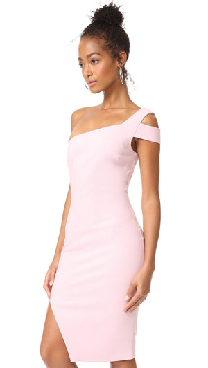One Shoulder Pink Fitted Dress. Robe à une épaule en rose