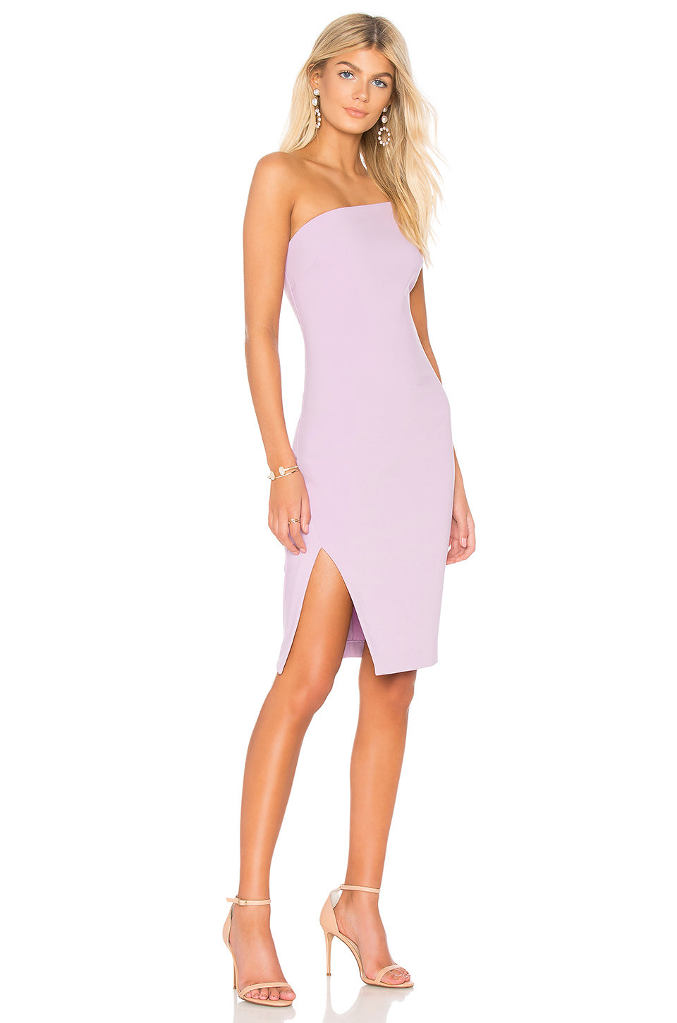 One Shoulder Lilac Fitted Dress. Robe à une épaule