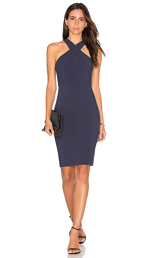 Carolyne Dress Navy. Robe midi blue marine