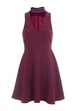 Chocker A-line Cocktail dress Plum. Robe de cocktail Andora