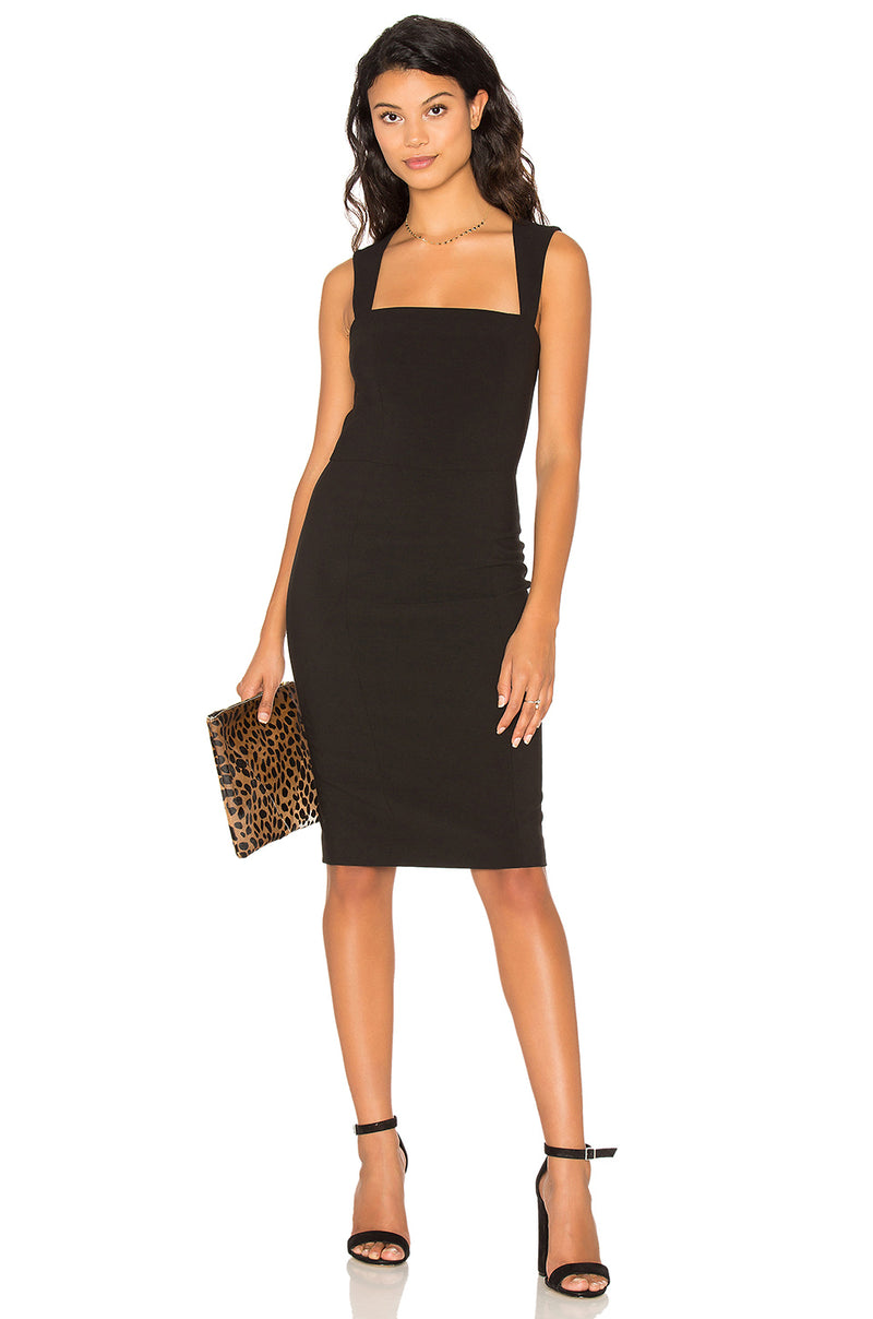 Fitted Dress with Back Cutout- Black. Robe slim - noire