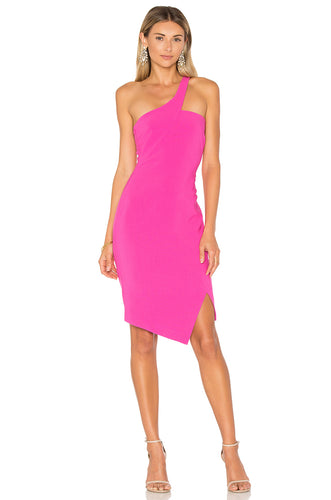 LIKELY Asymmetrical Fitted Dress- Pink. Robe asymétrique mono-épaule rose