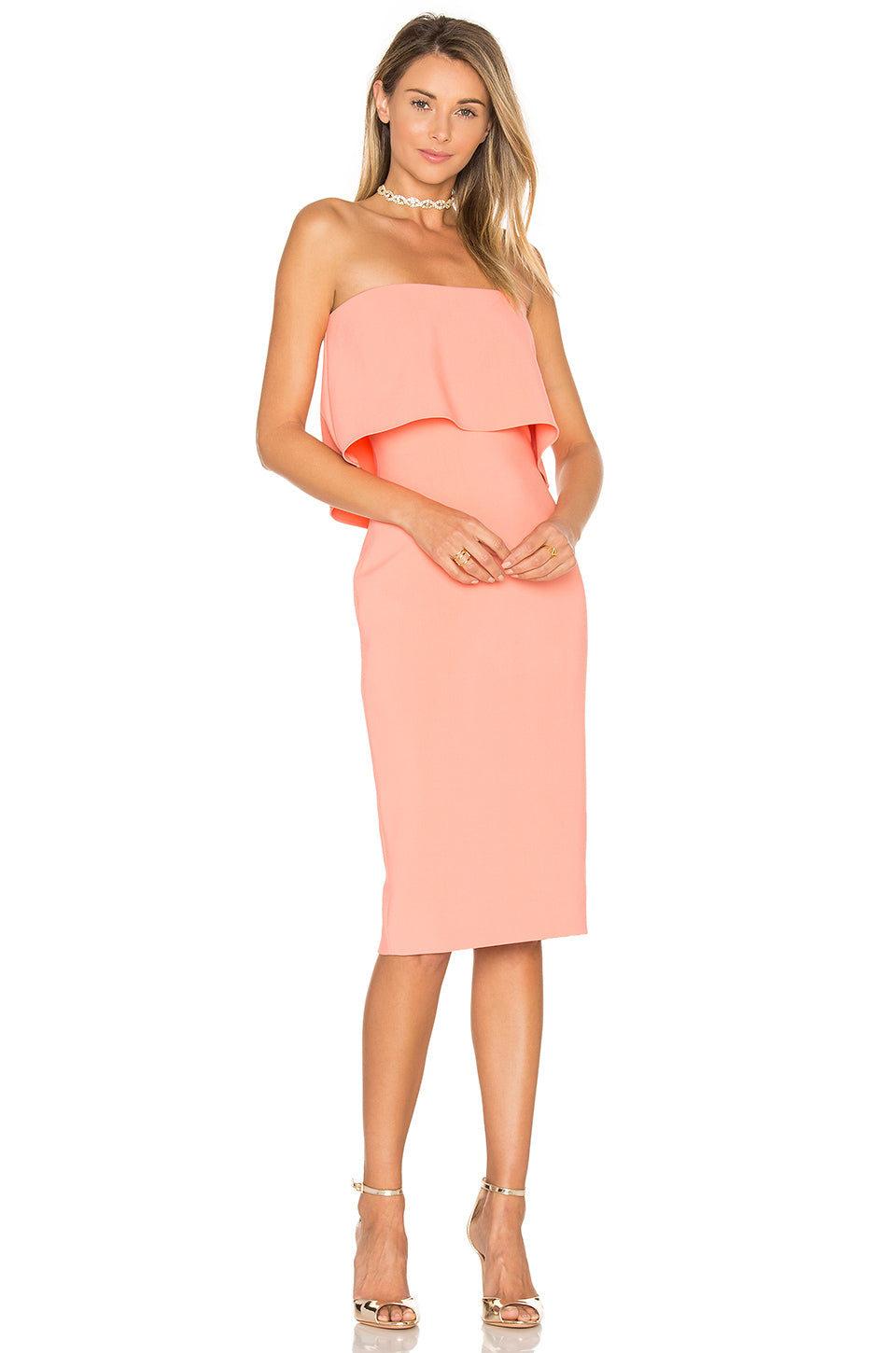 Strapless Driggs Dress Peach- Robe Driggs sans manches