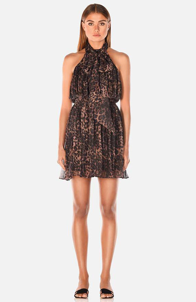 Pleated Printed Dress with Scarf Leopard. Robe imprimée