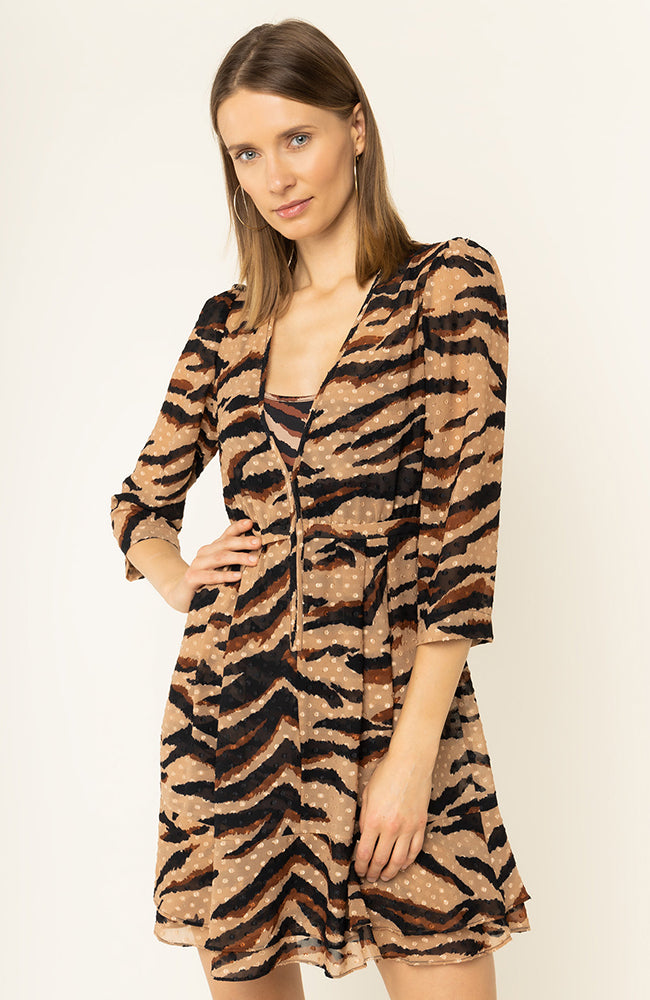 Lui Jo Printed Flowy Textured Dress Zipper Front Detail Tiger