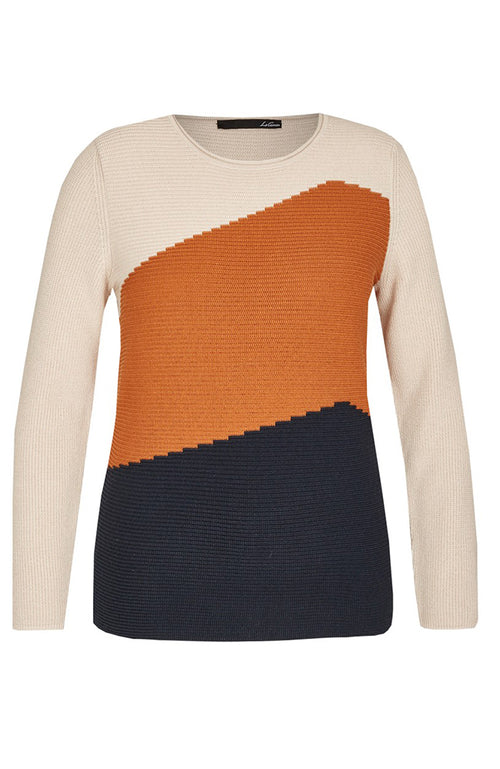 Le Comte Tri-Color Block Knit Sweater