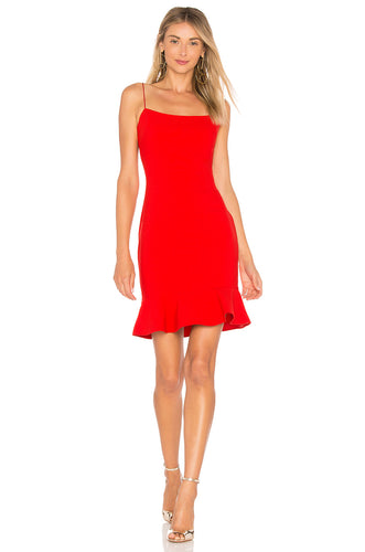 LIKELY Banks Ruffle Mini Dress Red. Mini Robe rouge