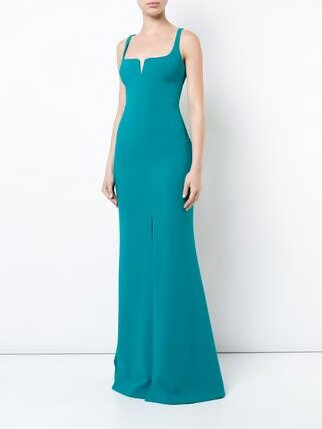 LIKELY Sleeveless Green Evening Gown. Robe de soirée verte