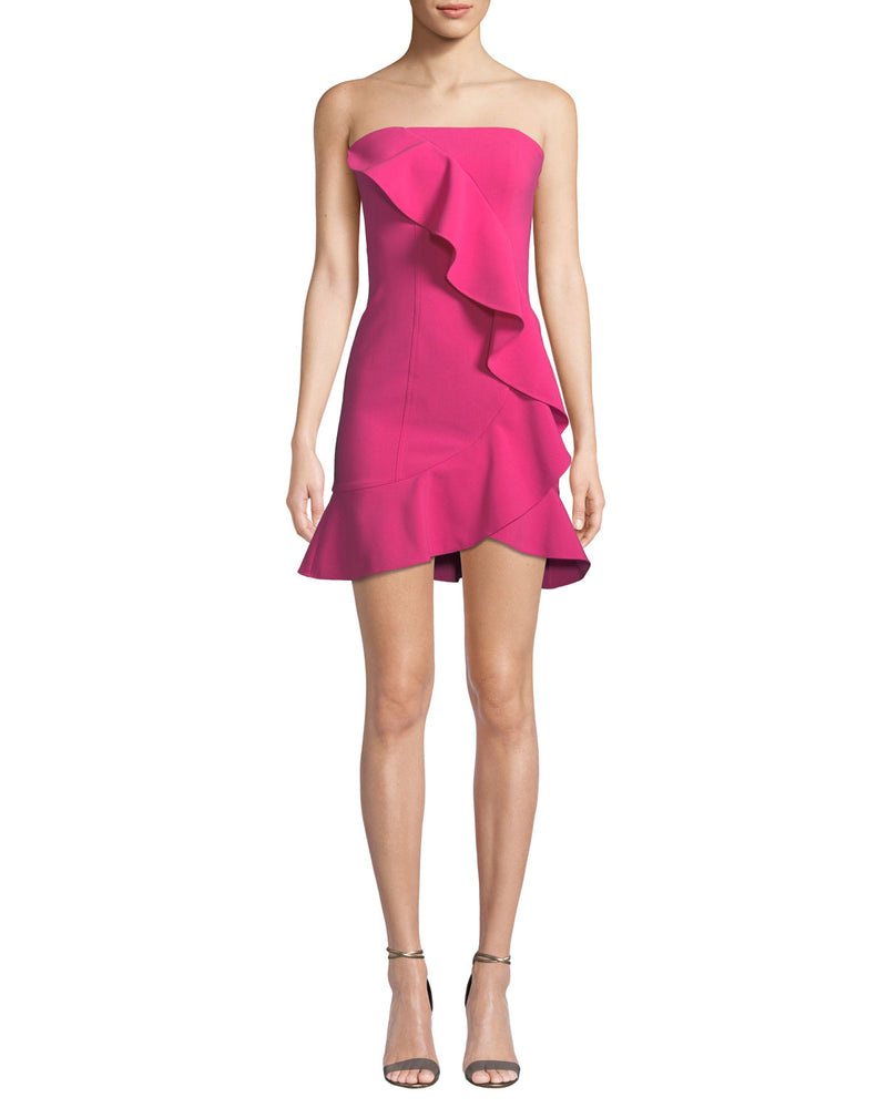 LIKELY Strapless Ruffle Mini Dress pink