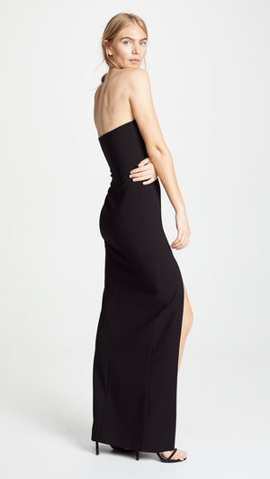 Robe noire de soirée sans bretelles. LIKELY Strapless Black Evening Gown with Side Slit.