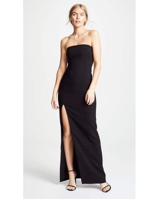 LIKELY Strapless Black Evening Gown with Side Slit. Robe noire de soirée sans bretelles