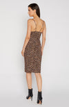 Robe de cocktail leopard adjustée. Front Slit Fitted Dress with thin straps.