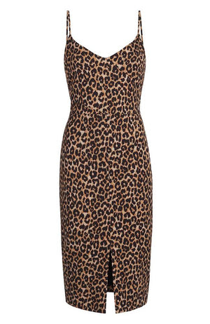 Likely Brooklyn Leopard Thin Straps Fitted Dress