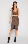 Leopard Print Front Slit Fitted Dress with thin straps. Robe de soirée adjustée
