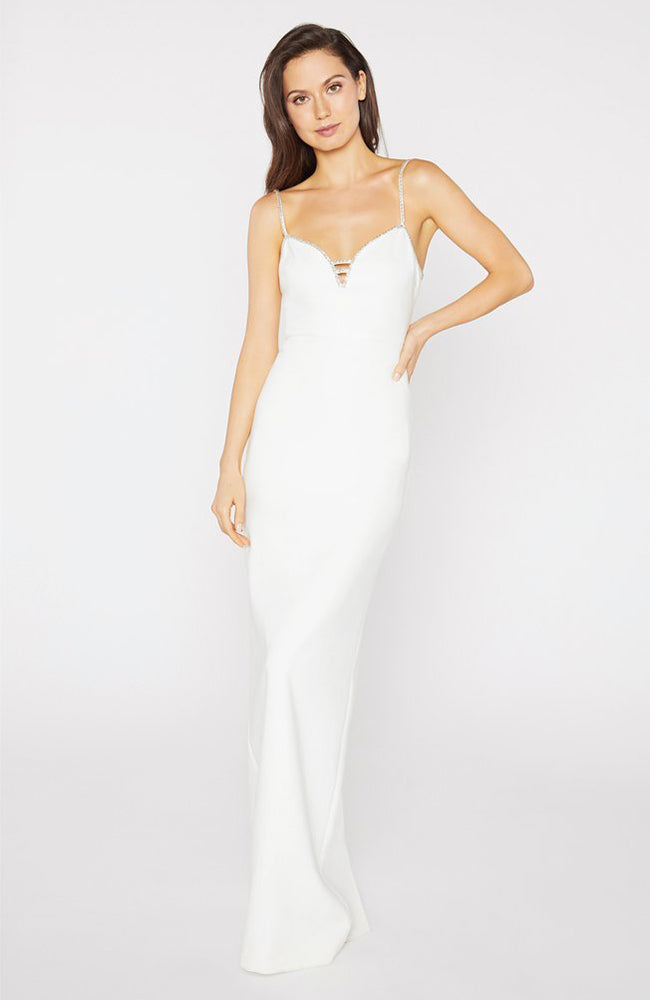 White Gown with Silver Straps and Back Slit