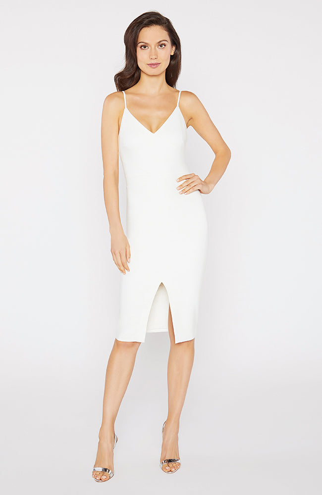 Brooklyn White Dress V-Neck Front Slit