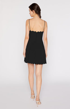 Black Mini Dress with scalloped details