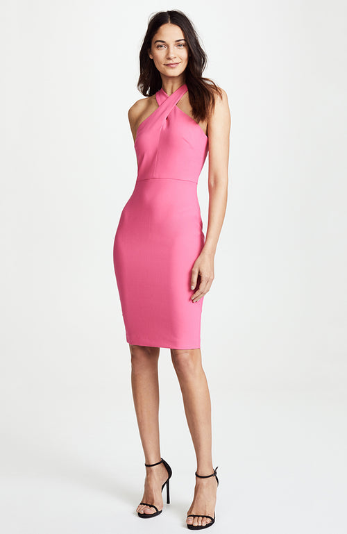 Likely Carolyn Pencil Skirt Halter Dress. Robe de cocktail rose