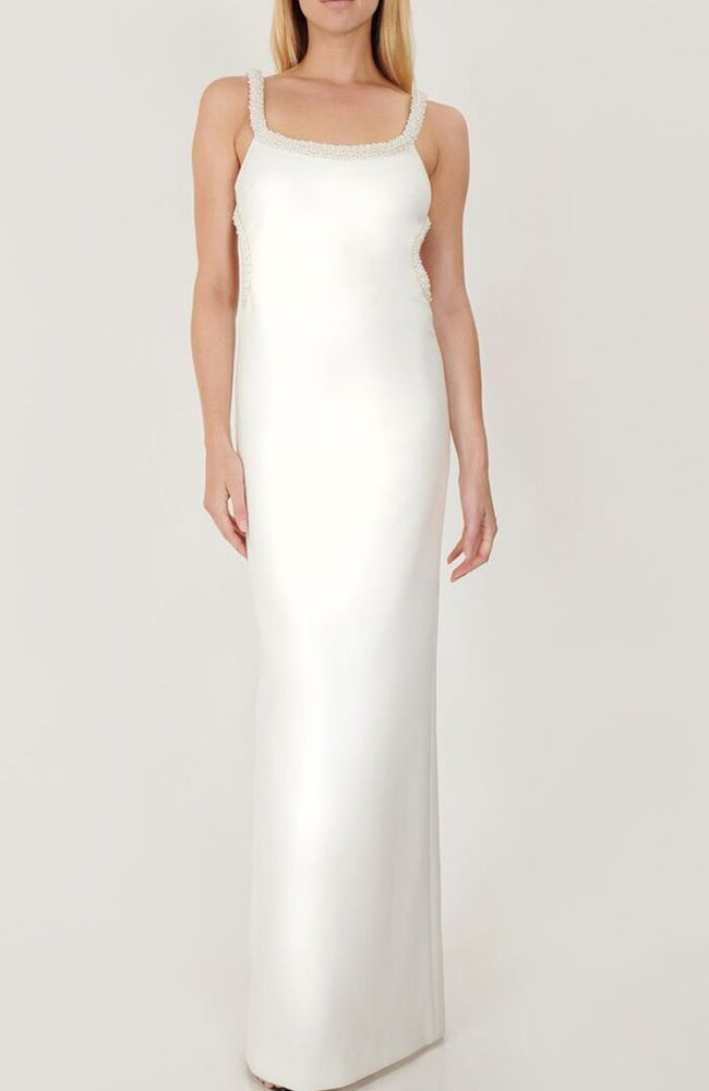 White Gown with Pearl Straps and Open Back