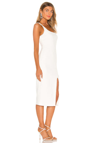 White Midi Dress with Silver Contouring