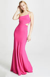 Fina One Shoulder Gown with Cut Out Fuchsia