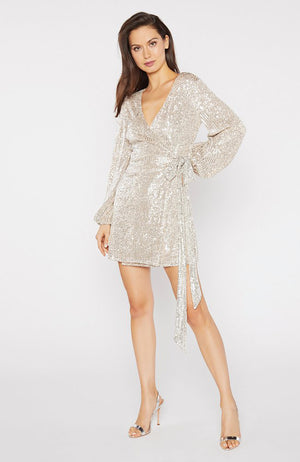 Long Sleeve Sequin Wrap Dress