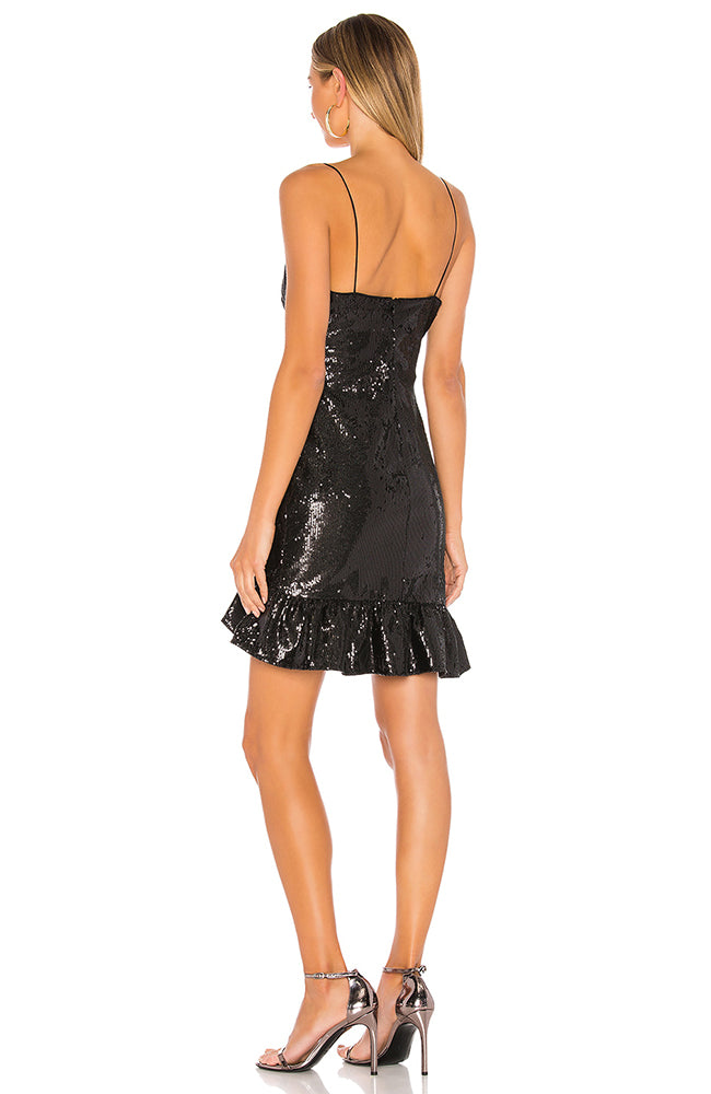 Mini Sequin Dress with Ruffle Black