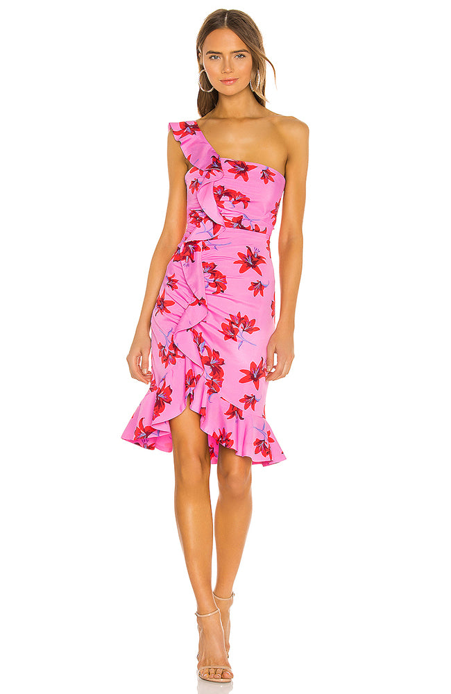 One Shoulder Ruffle Dress Floral
