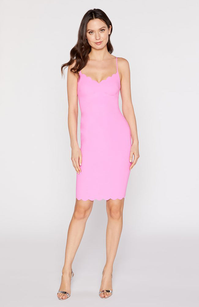 Pink Dress V-Neck and Scalloped Details