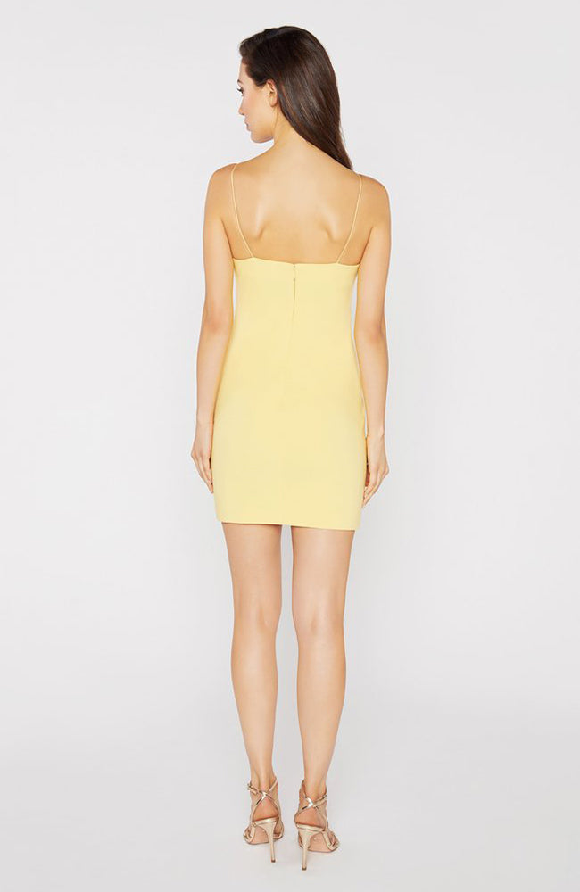Yellow Mini Dress with Embellished Flower Details