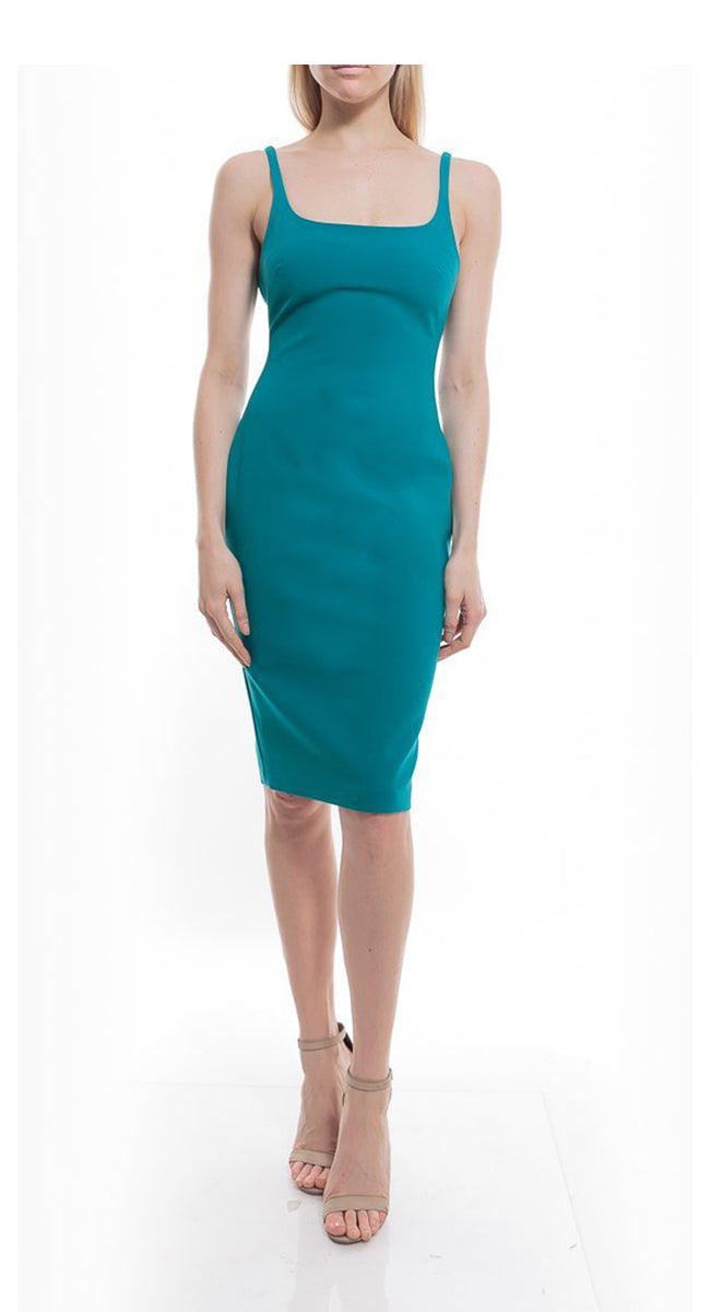 Sleeveless Fitted Cocktail Dress Green. Robe slim fit sans manches verte