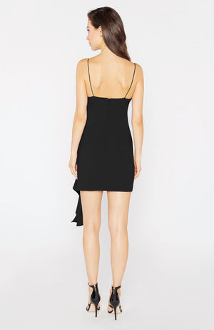 Black Mini Dress with Front Ruffle