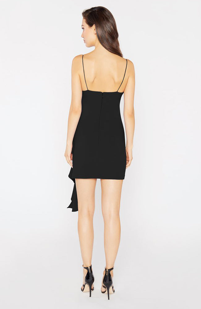 Whitney Black Mini Dress with Front Ruffle
