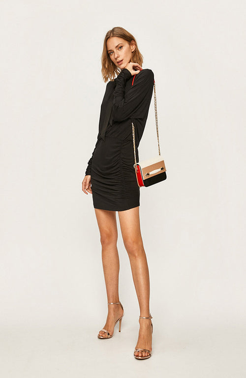 Liu Jo Long Sleeve V-Neck Shirring Cocktail Dress