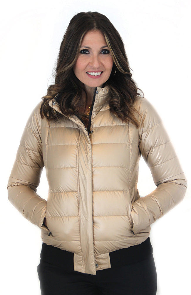 Mia Long Sleeve Puffy Jacket Golden. Veste doré