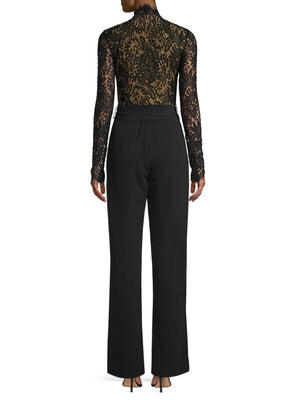 MISHA COLLECTION Fitted Lace Detailed Black Designer Jumpsuit