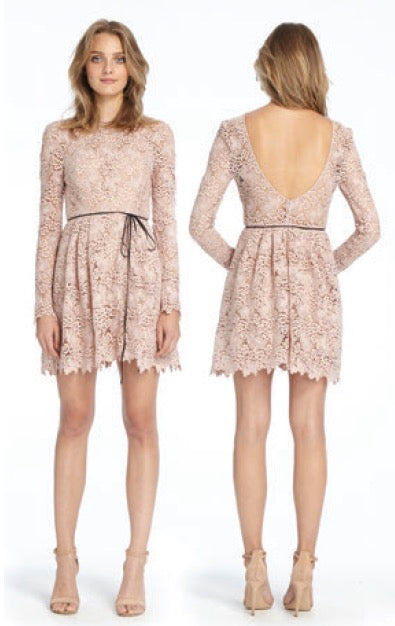 ML MONIQUE L'HUILLIER Nude Lace Dress with Flared Skirt Robe en dentelle