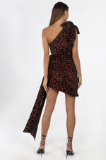 One Shoulder Velvet Red Leopard Print Dress
