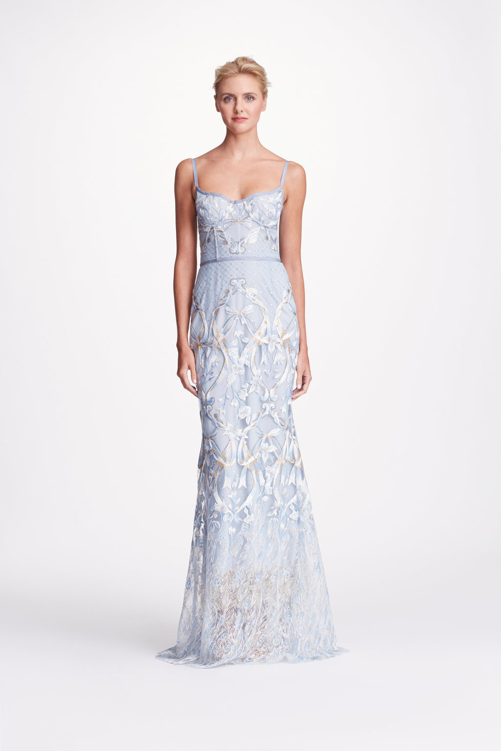MARCHESA NOTTE Corset Gown Dress Light Blue Robe de soirée blue