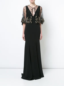 MARCHESA NOTTE Embellished Cape Gown Dress Robe Cape