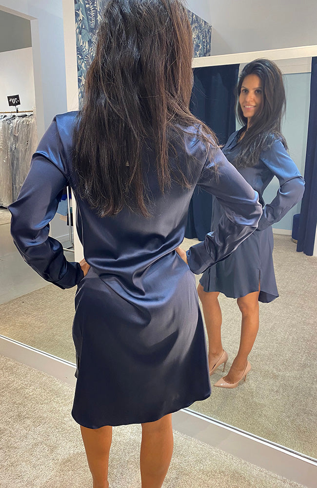 Max Volmary Silk Shirt Dress Navy Robe en Soie